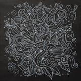 Cartoon vector schalkboard doodles hand drawn tea Stock Photos