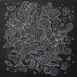 Cartoon vector schalkboard doodles hand drawn tea Stock Photo
