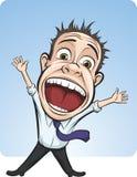 Cartoon vector screaming business person Stock Photo