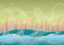 Cartoon vector sea background with separated layers for game art and animation. Game design asset in 2d graphic Stock Photo