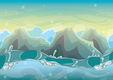 Cartoon vector sea background with separated layers for game art and animation. Game design asset in 2d graphic Royalty Free Stock Photo