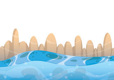 Cartoon vector sea background with separated layers for game art and animation Stock Photos