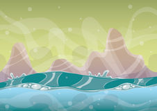 Cartoon vector sea background with separated layers for game art and animation Stock Image