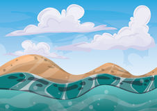 Cartoon vector sea background with separated layers for game art and animation Royalty Free Stock Photography