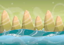 Cartoon vector sea background with separated layers for game art and animation Stock Images