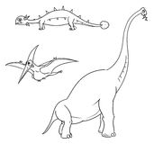 Cartoon Vector Set 01 of Ancient Dinosaur Monsters Royalty Free Stock Images