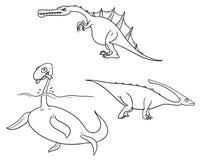Cartoon Vector Set 02 of Ancient Dinosaur Monsters. Vector Cartoon Set 02 of ancient dinosaur monster - plesiosaurs,Charonosaurus/Parasaurolophus,Spinosaurus Royalty Free Stock Images