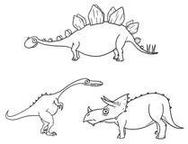 Cartoon Vector Set 04 of Ancient Dinosaur Monsters. Vector Cartoon Set 04 of ancient dinosaur monster - Stegosaurus,Triceratops,Coelophysis Royalty Free Stock Photos