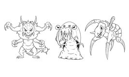 Cartoon Vector set of Dangerous Monsters - Lizard, Snail, Turtle Stock Photo