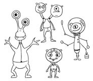 Cartoon Vector Set 04 of Friendly Aliens Astronauts. Vector Cartoon Set 04 of friendly alien astronauts Royalty Free Stock Images