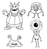 Cartoon Vector Set 02 of Friendly Aliens Astronauts. Vector Cartoon Set 02 of friendly alien astronauts Stock Images