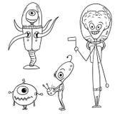 Cartoon Vector Set 03 of Friendly Aliens Astronauts. Vector Cartoon Set 03 of friendly alien astronauts Stock Images