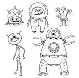 Cartoon Vector Set 01 of Friendly Aliens Astronauts Stock Photo