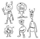 Cartoon Vector Set 05 of Friendly Aliens Astronauts. Vector Cartoon Set 05 of friendly alien astronauts Stock Images