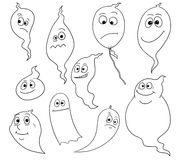 Cartoon Vector Set of Friendly Ghosts. Set of friendly cartoon vector ghost spirits Royalty Free Stock Image