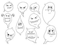 Cartoon Vector Set of Ghosts. Set of Cartoon Vector Ghosts Royalty Free Stock Images