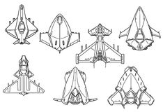 Cartoon Vector Set of Spaceship Spacecraft Designs. Set of hand drawn spacecraft spaceship designs, concept art in black and white Royalty Free Stock Photos