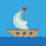 Cartoon vector ship in sea Royalty Free Stock Photography