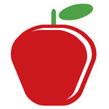 Cartoon vector simple delicious red apple isolated in white back Stock Photography