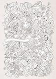Cartoon vector sketchy  art and craft background Stock Photos