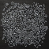 Cartoon vector sketchy doodles hand drawn school. Education chalkboard background Royalty Free Stock Images