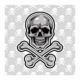 Cartoon Vector Skull . Hand drawn. Eps8 Royalty Free Stock Image