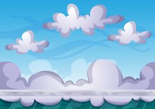 Cartoon vector sky background with separated layers for game art and animation Royalty Free Stock Photography