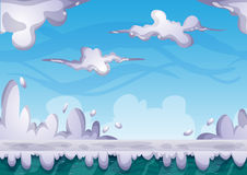 Cartoon vector sky background with separated layers for game art and animation Royalty Free Stock Photo