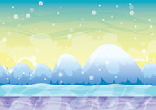 Cartoon vector snow landscape background with separated layers for game and animation. Game design asset in 2d graphic Royalty Free Stock Image