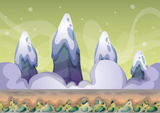 Cartoon vector snow landscape background with separated layers for game and animation. Game design asset in 2d graphic Stock Photos