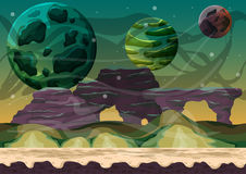 Cartoon vector space landscape with separated layers for game and animation Royalty Free Stock Image