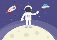 Cartoon Vector Spaceman on the Moon. A cartoon spaceman standing on the moon royalty free illustration
