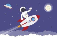 Cartoon Vector Spaceman on a Rocket. A cartoon spaceman on a space rocket vector illustration