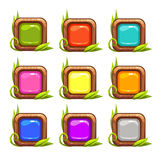 Cartoon vector square buttons set. With colorful middles and nature elements, isolated on white royalty free illustration