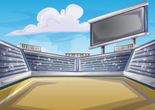 Cartoon vector Stadium Background Score Board Empty Field Royalty Free Stock Image