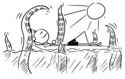 Cartoon Vector Stick Man Relaxing on Airbed, Air Mattress Attack. Cartoon vector stickman smiling enjoying sailing a airbed air mattress on summer vacation Stock Photo