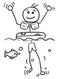 Cartoon Vector Stick Man Relaxing Swimming with Swim Ring. Cartoon vector stickman smiling enjoying relax swimming with inflatable swim ring and waving his hands Stock Photos