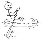 Cartoon Vector Stick Man Sailing a Rubber Boat. Cartoon vector stickman smiling enjoying sailing a rubber boat Royalty Free Stock Photos
