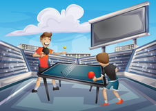 Cartoon vector table tennis sport with separated layers for game and animation. Game design asset royalty free illustration