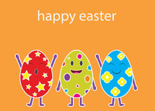 Cartoon vector of three funny Easter eggs. Happy Easter Stock Photos