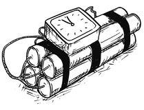 Cartoon Vector of Time Bomb with Analog Alarm Clock. Vector cartoon of retro time bomb with analog alarm clock as timer royalty free illustration