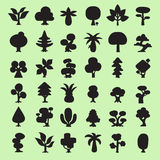 36 Cartoon vector trees silhouettes collection. For design Royalty Free Stock Photos
