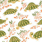 Cartoon vector turtles in the reeds seamless pattern Stock Image
