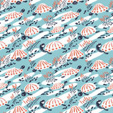 Cartoon vector turtles in the reeds seamless pattern Royalty Free Stock Photos