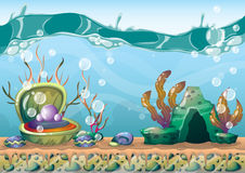 Cartoon vector underwater background with separated layers for game art and animation Royalty Free Stock Image