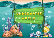 Cartoon vector underwater treasure background with separated layers for game art and animation. Game design asset in 2d graphic Royalty Free Stock Photos