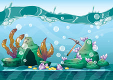 Cartoon vector underwater treasure background with separated layers for game art and animation. Game design asset in 2d graphic Royalty Free Stock Images