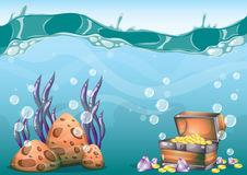 Cartoon vector underwater treasure background with separated layers for game art and animation. Game design asset in 2d graphic Stock Photography