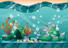 Cartoon vector underwater treasure background with separated layers for game art and animation. Game design asset in 2d graphic Royalty Free Stock Photo