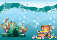Cartoon vector underwater treasure background with separated layers for game art and animation. Game design asset in 2d graphic Stock Images